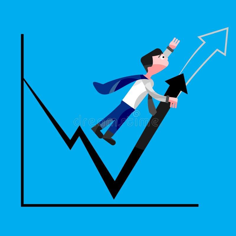 Бизнесмен пробуя увеличить диаграммы продаж иллюстрация вектора