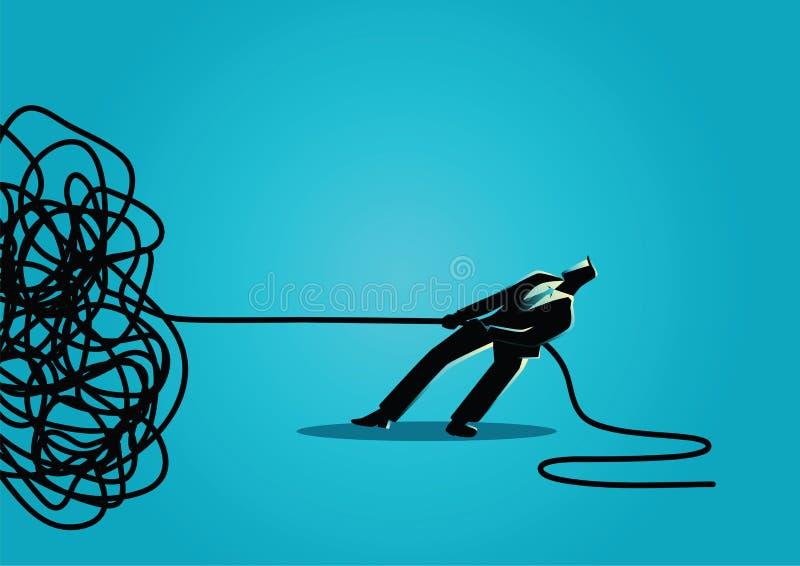 Бизнесмен пробуя unravel запутал веревочку или кабель иллюстрация штока