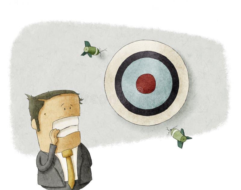 Бизнесмен пропускает цель иллюстрация вектора