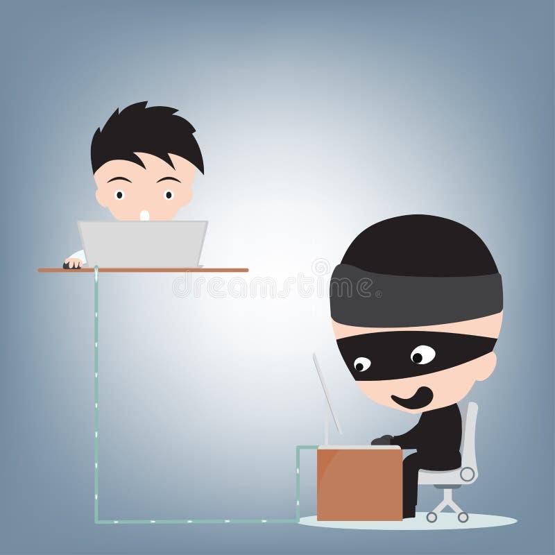 Бизнесмен прорубил данные хакером, концепцию злодеяния интернета, вектор иллюстрации в плоском дизайне иллюстрация вектора