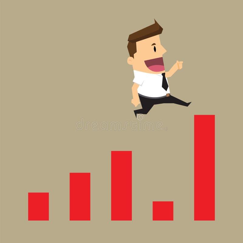 Бизнесмен прыгает кризис с скачкой на положительном статистике бесплатная иллюстрация