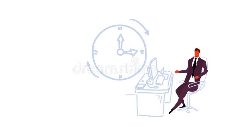 Бизнесмен работая на значке настенных часов концепции крайнего срока работника офиса бизнесмена рабочего места компьютера сидя мо иллюстрация вектора