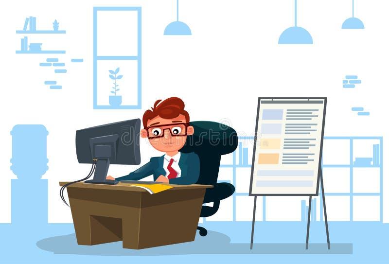 Бизнесмен работая на компьютере сидит на столе над предпосылкой офиса бесплатная иллюстрация