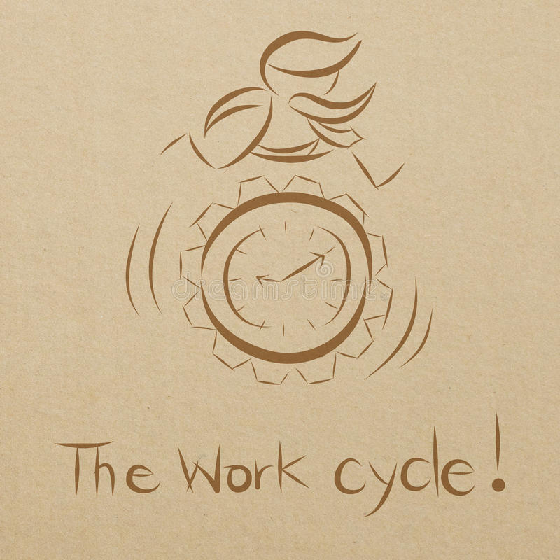 бизнесмен работая на шестерне часов бесплатная иллюстрация