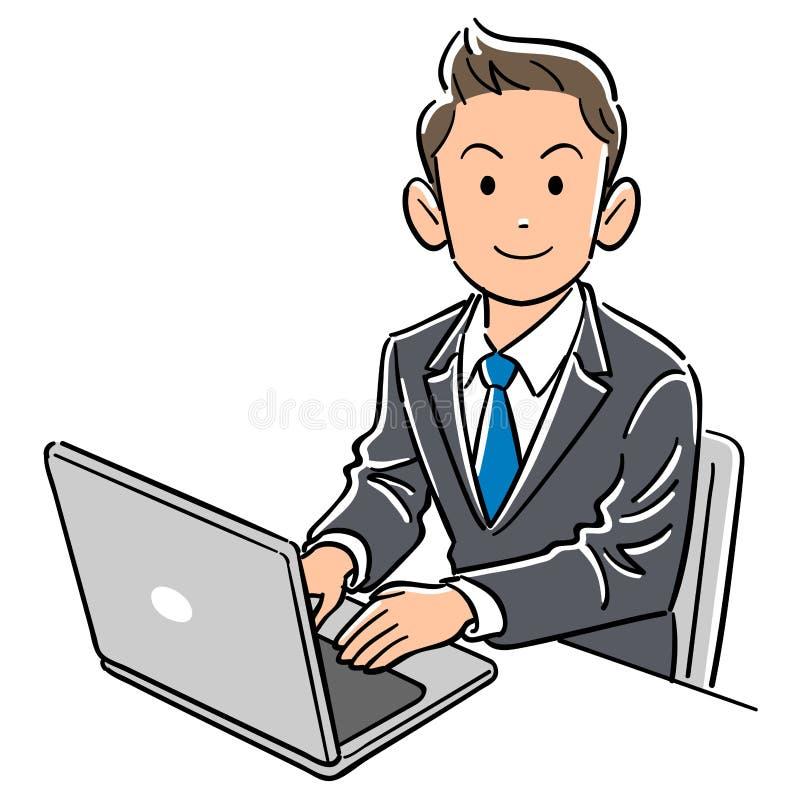 Бизнесмен работая персональный компьютер иллюстрация штока