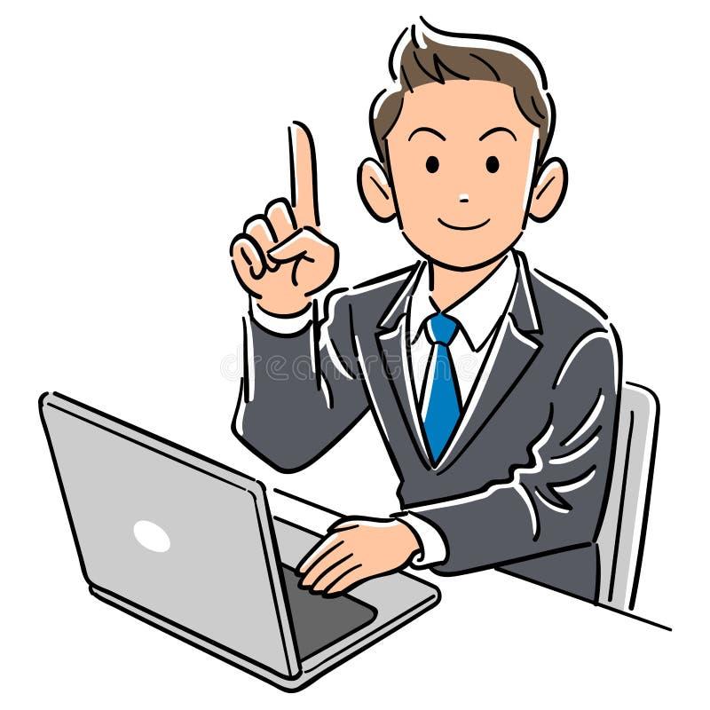 Бизнесмен работая персональный компьютер с указательным пальцем иллюстрация вектора