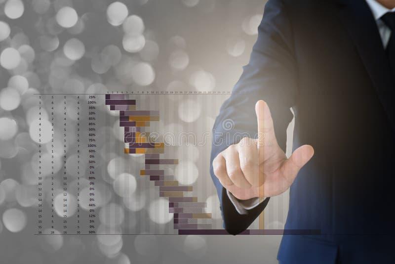 Бизнесмен работая с визуальной цифровой диаграммой стоковое изображение