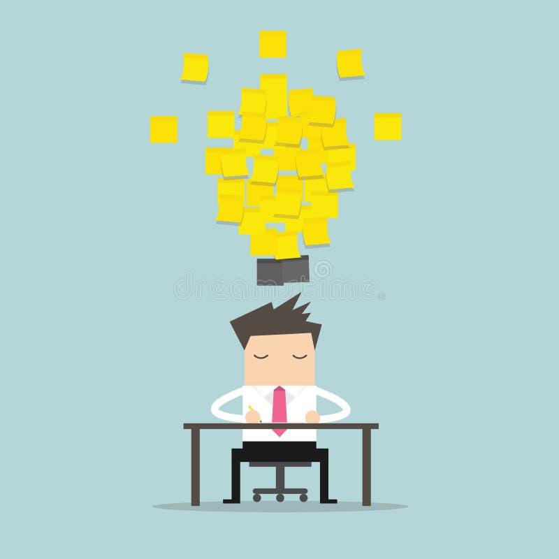 Бизнесмен работая с желтой идеей электрической лампочки примечания ручки вектор иллюстрация вектора
