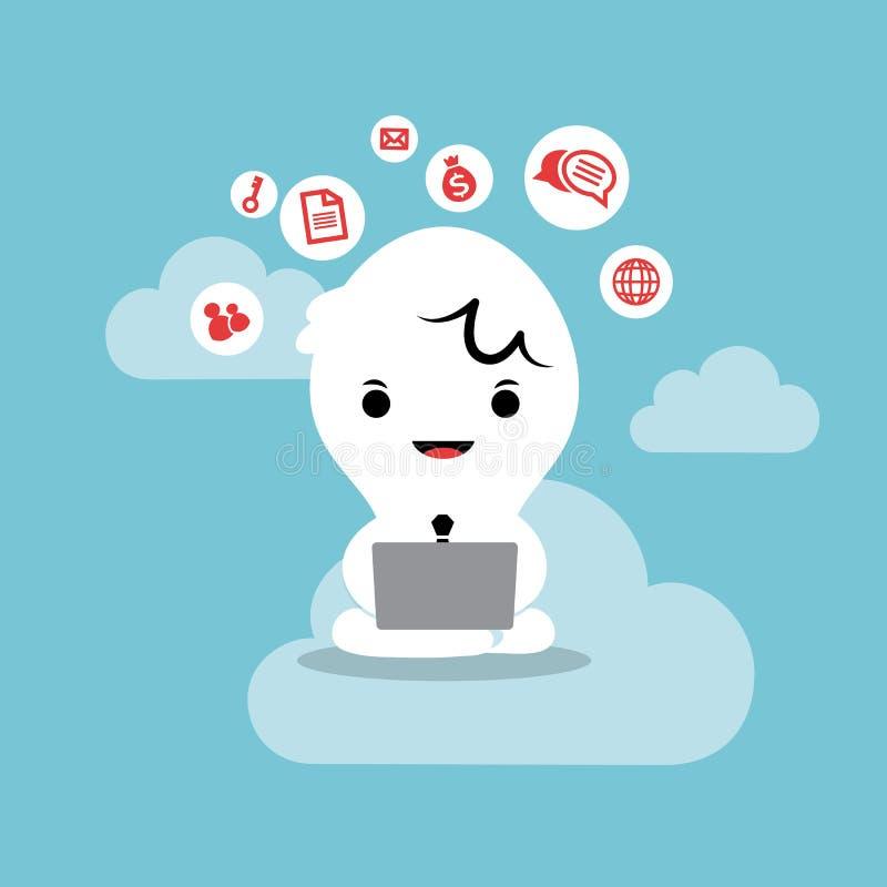 Бизнесмен работая с сетью облака компьтер-книжки иллюстрация штока