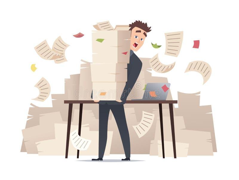 Бизнесмен рабочей нагрузки Директор менеджера офиса перегрузок сидя на таблице над очень вектором канцелярщины документов бумаг иллюстрация штока