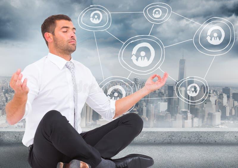 Бизнесмен размышляя против горизонта с белым doodle сети стоковые фотографии rf