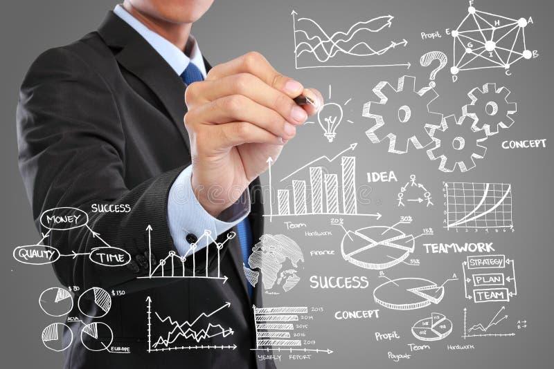 Бизнесмен рисуя современную концепцию дела стоковое изображение rf
