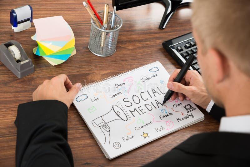 Бизнесмен рисуя социальную диаграмму средств массовой информации стоковое фото rf