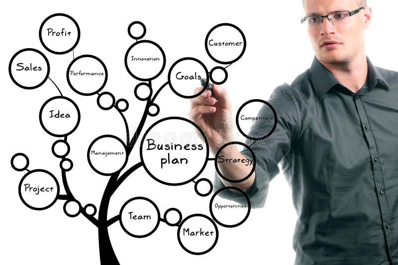 Бизнесмен рисуя схематическое дерево бизнес-плана стоковое изображение rf