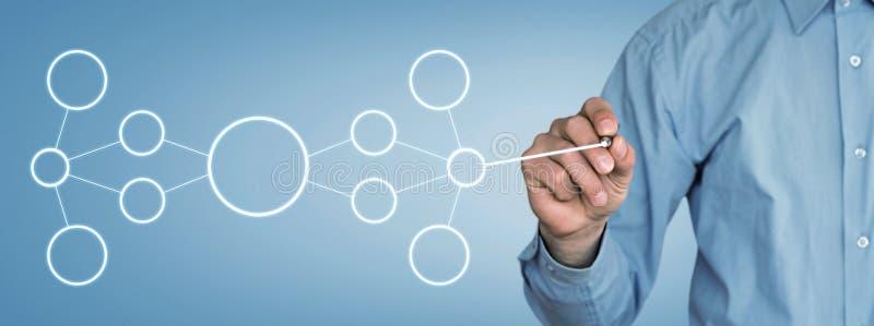 Бизнесмен рисуя схему технологического процесса владение домашнего ключа принципиальной схемы дела золотистое достигая небо к стоковые изображения rf