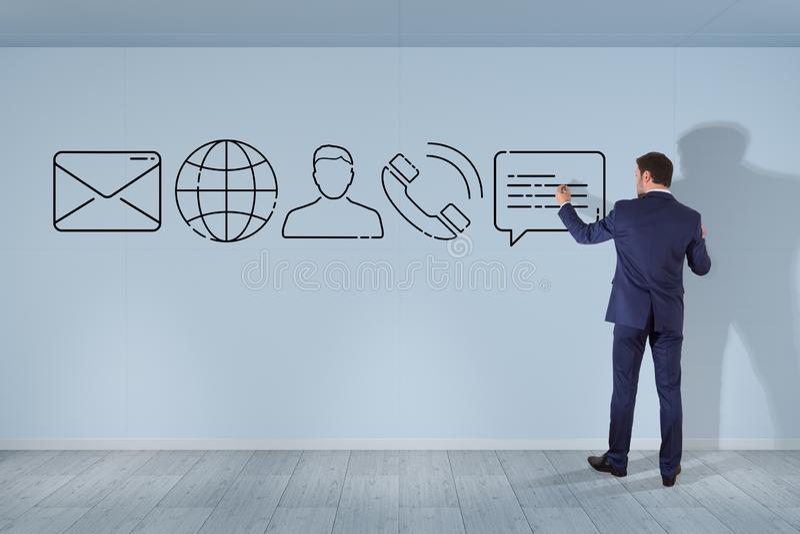 Бизнесмен рисуя тонкую линию значок контакта иллюстрация вектора