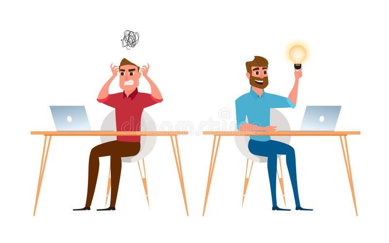 2 бизнесмен другой имеют идею и не имеют никакую идею бесплатная иллюстрация