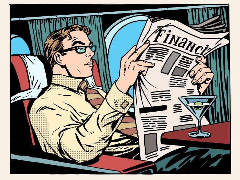 Бизнесмен самолета предпринимательского класса читает прессу бесплатная иллюстрация