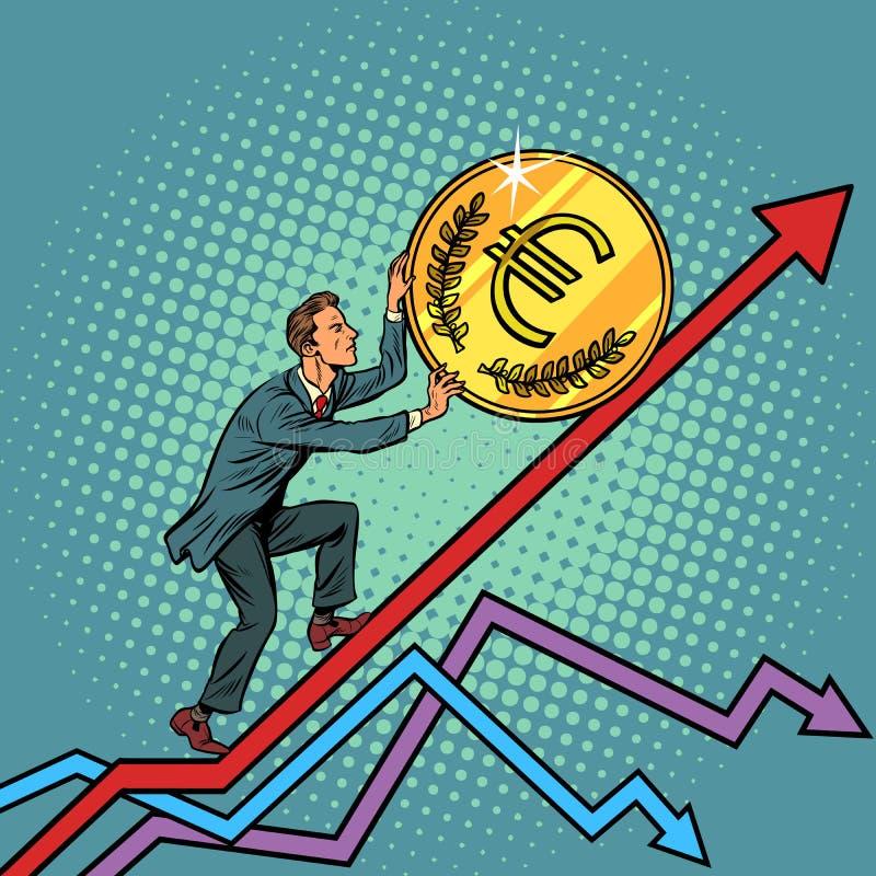 Бизнесмен свертывает монетку евро вверх иллюстрация штока