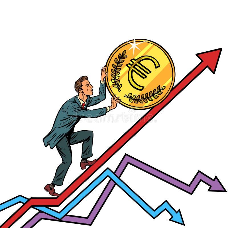 Бизнесмен свертывает монетку евро вверх бесплатная иллюстрация