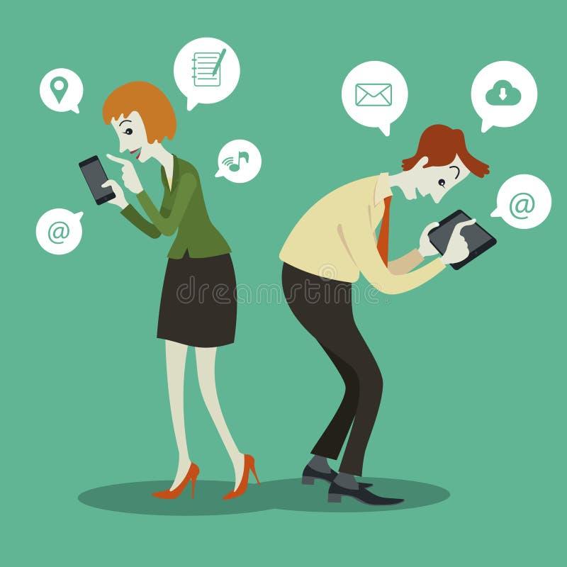 Бизнесмен связывая с социальными знаком и речью болтовни иллюстрация вектора