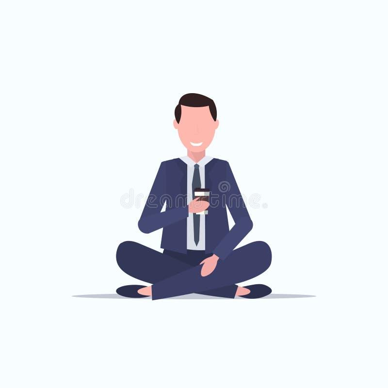 бизнесмен сидящий лотус позирует молодого бизнесмена пить кофе релакс иллюстрация вектора
