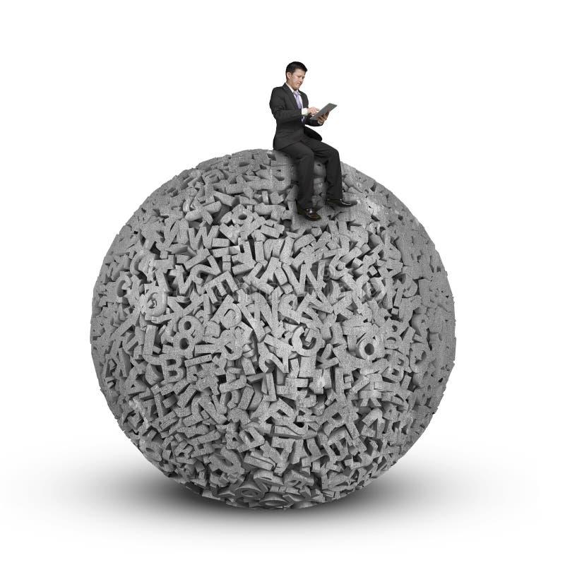Бизнесмен сидя на конкретном шарике данных по характеров 3d больших бесплатная иллюстрация
