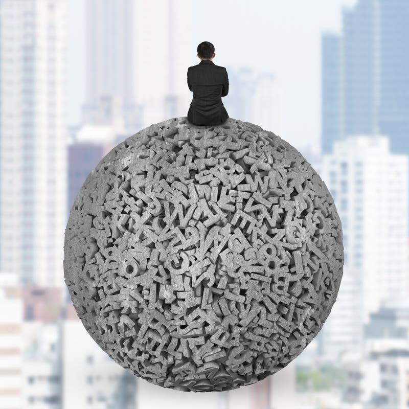 Бизнесмен сидя на конкретном шарике данных по характеров 3d больших стоковое фото