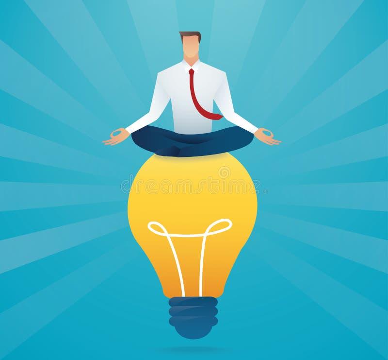 Бизнесмен сидя на концепции электрической лампочки творческой r иллюстрация вектора