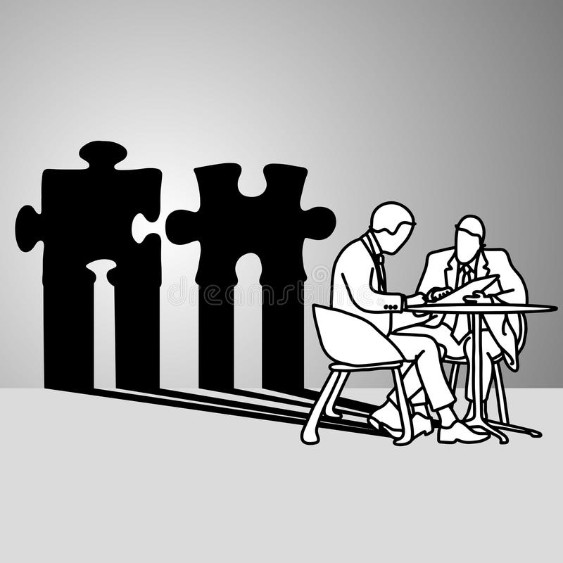 Бизнесмен сидя с тенью мозаики ve конфликта иллюстрация вектора