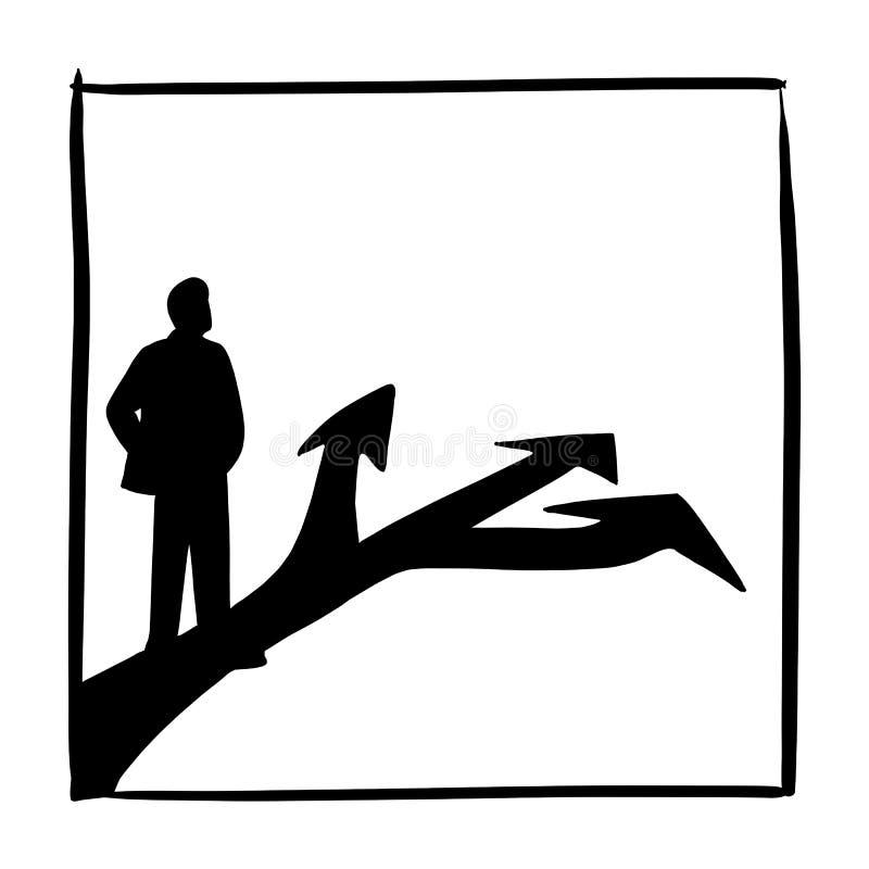 Бизнесмен силуэта стоя перед 3 стрелками на нарисованной руке doodle эскиза иллюстрации вектора дороги асфальта изолированной дал иллюстрация штока