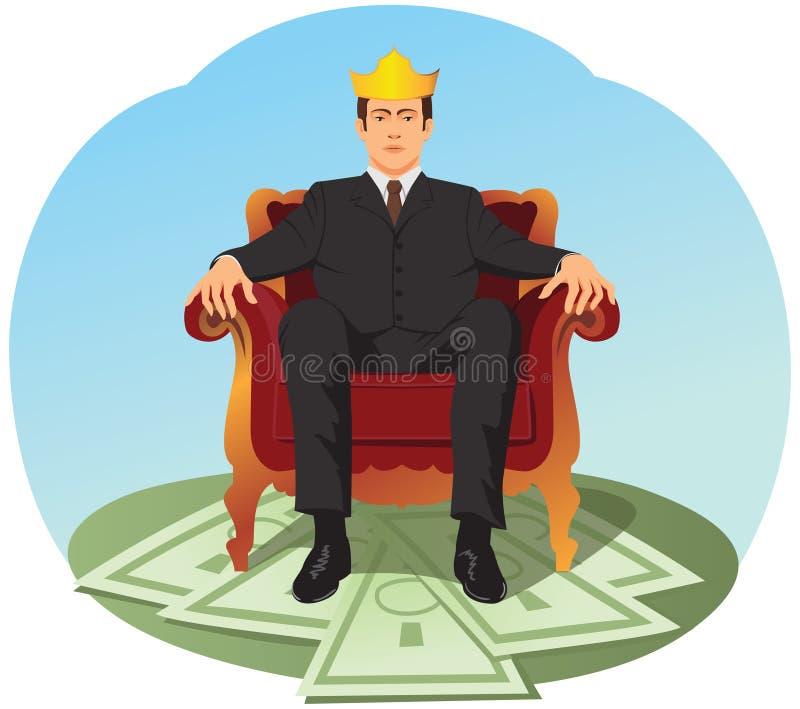 Бизнесмен сидит как король иллюстрация вектора