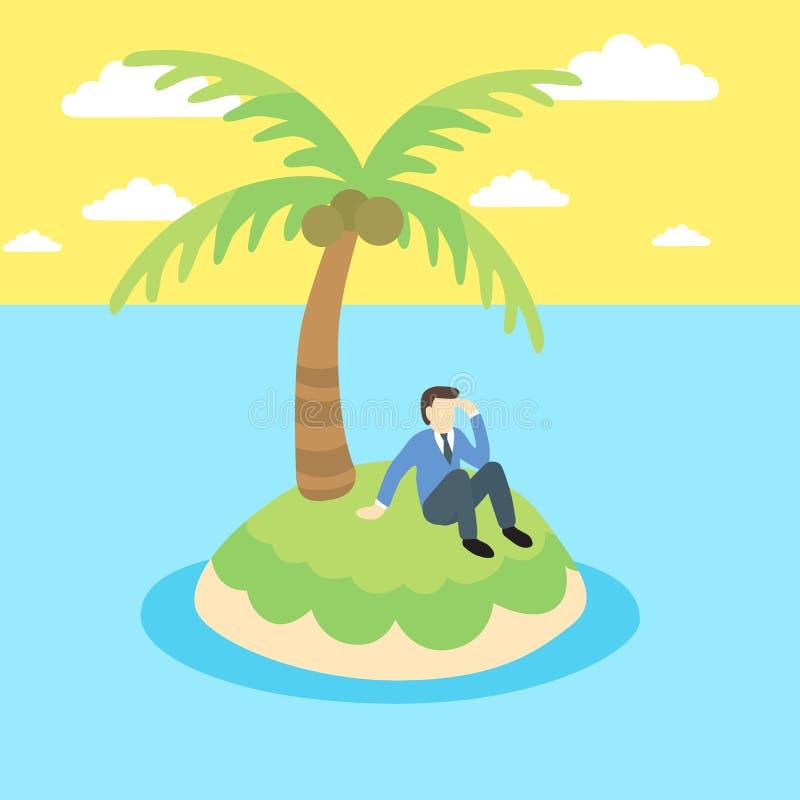 Бизнесмен сидит на необитаемом острове иллюстрация вектора