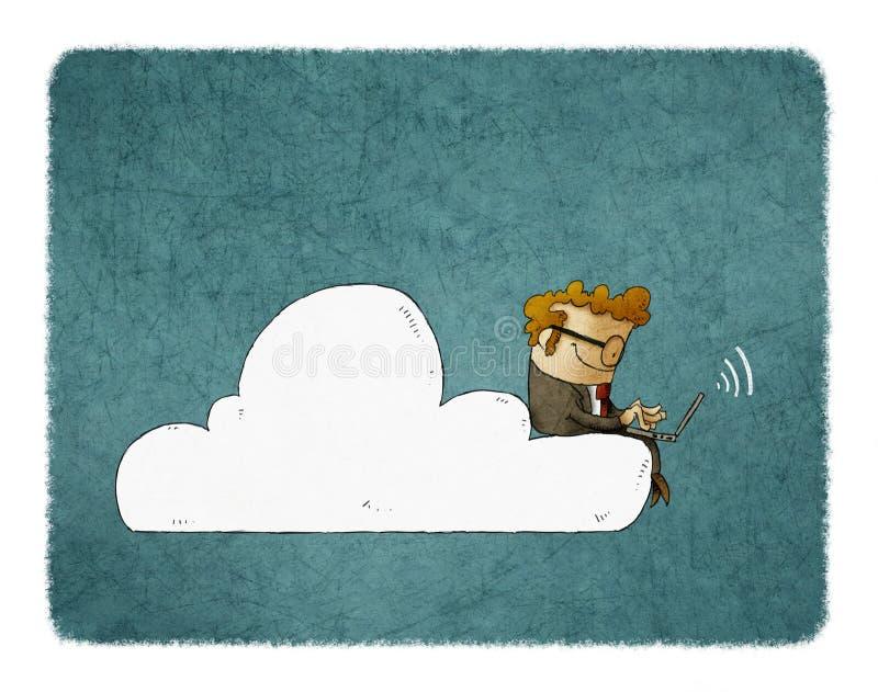 Бизнесмен сидит на облаке с компьтер-книжкой на его коленях иллюстрация штока