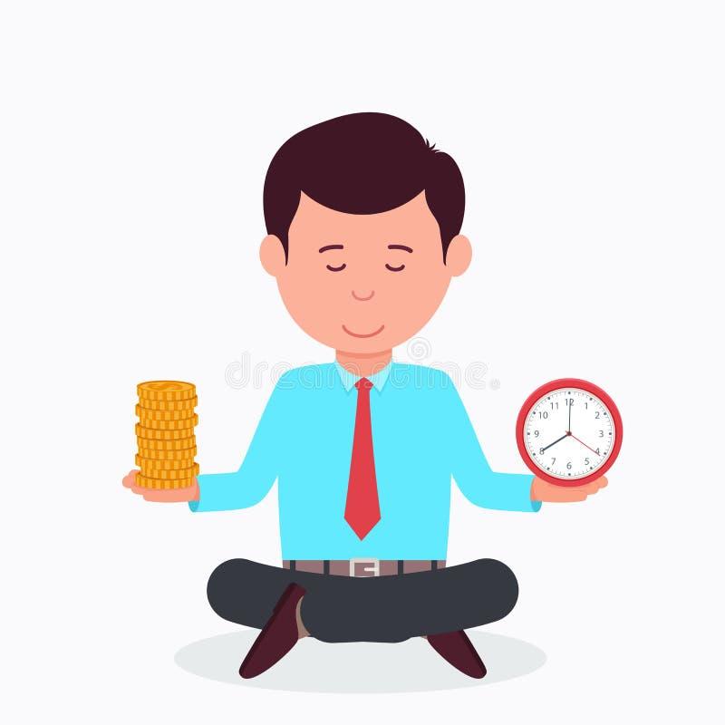 Бизнесмен сидя в положении лотоса с часами и деньгами C иллюстрация вектора
