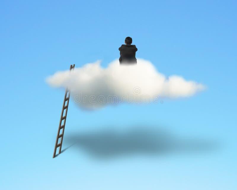 Бизнесмен сидя и думая на облаке иллюстрация штока