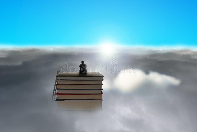 Бизнесмен сидя на стоге книг над пасмурным солнцем стороны бесплатная иллюстрация