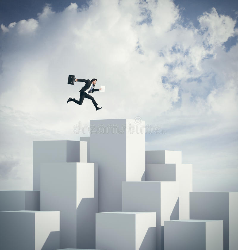 Бизнесмен скача на куб перевод 3d стоковые фотографии rf