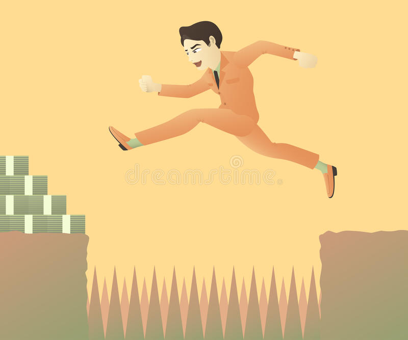 Бизнесмен скачет над возражениями иллюстрация штока
