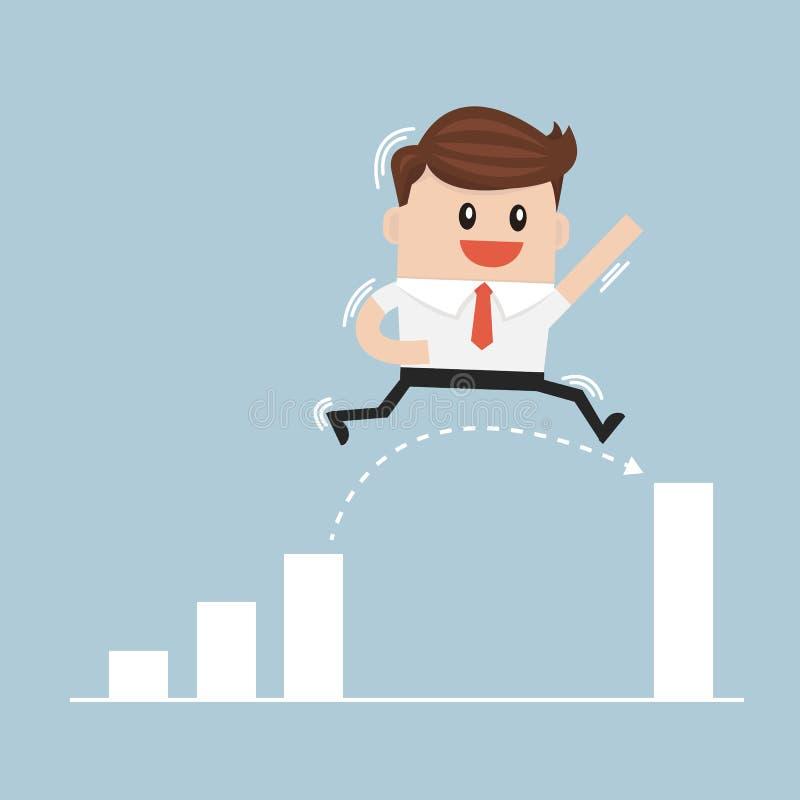 Бизнесмен скачет через зазор в векторе диаграммы роста бесплатная иллюстрация