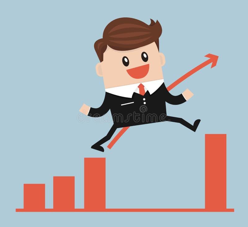 Бизнесмен скачет через зазор в векторе диаграммы роста иллюстрация вектора