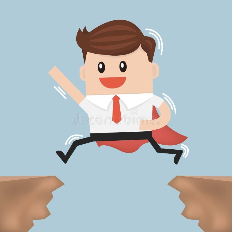 Бизнесмен скачет через зазор от одной скалы к другим иллюстрация штока