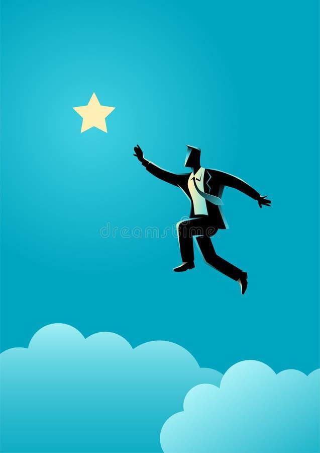 Бизнесмен скачет для того чтобы достигнуть вне для звезды иллюстрация штока