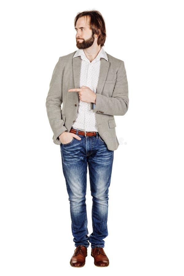 Бизнесмен смотря и указывая жест пальца счастье, g стоковое изображение