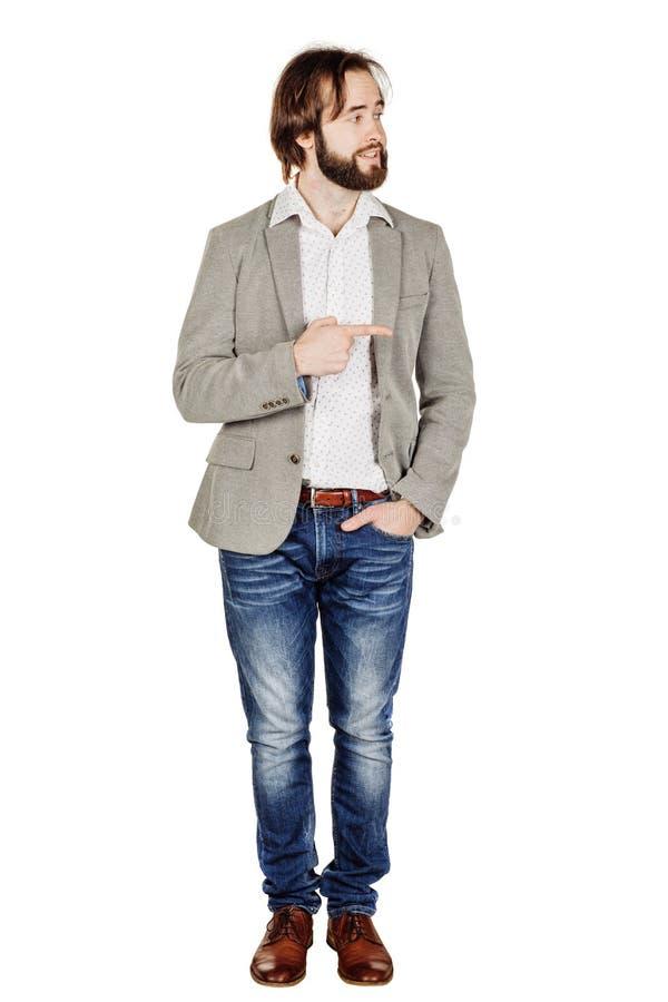 Бизнесмен смотря и указывая жест пальца счастье, g стоковые изображения rf