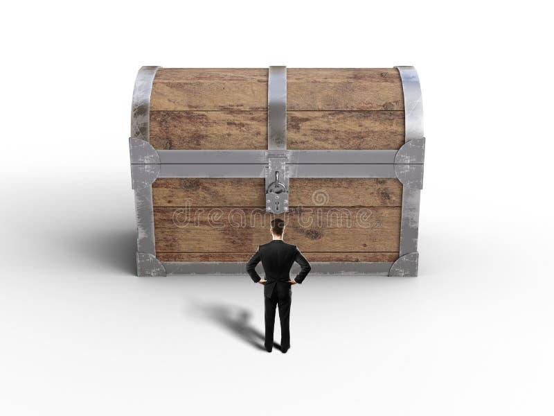 Бизнесмен смотря комод стоковое изображение rf