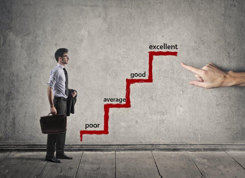 Бизнесмен смотря масштаб успеха стоковое фото rf