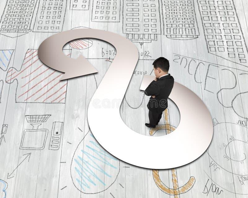 Бизнесмен смотря металлический лист в безграничности стрелки повторно используя символ стоковое фото rf