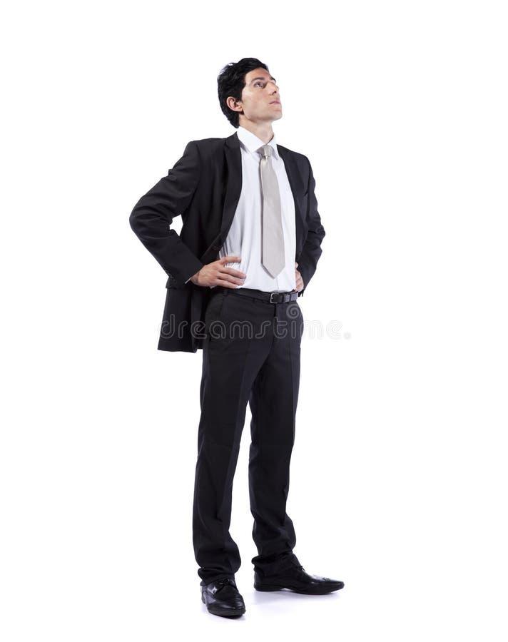 бизнесмен смотря мощное поднимающее вверх стоковые изображения rf