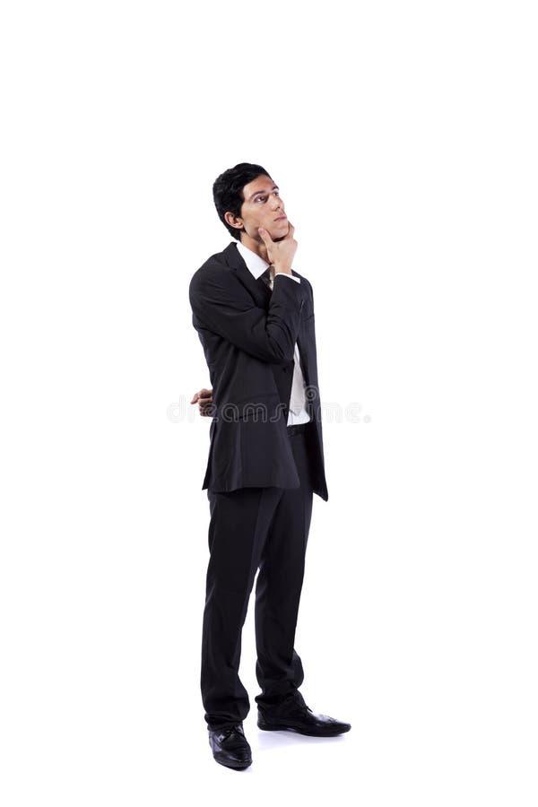 бизнесмен смотря мощное поднимающее вверх стоковые фотографии rf